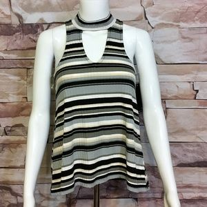 Almost Famous Keyhole Mock Neck Striped Top